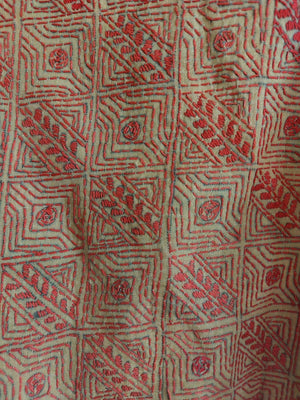 COTTON KANTHA - FAWN & RED 1
