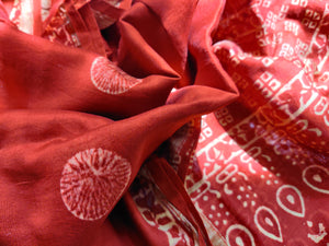 CHANDERI BLOCK PRINT - RED CIRCLE