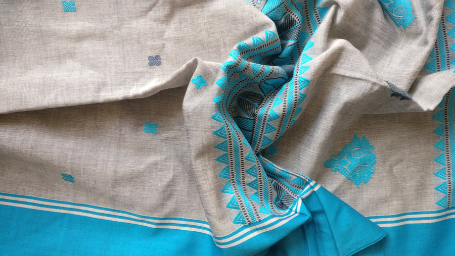 PHULIA COTTON - GREY & BLUE