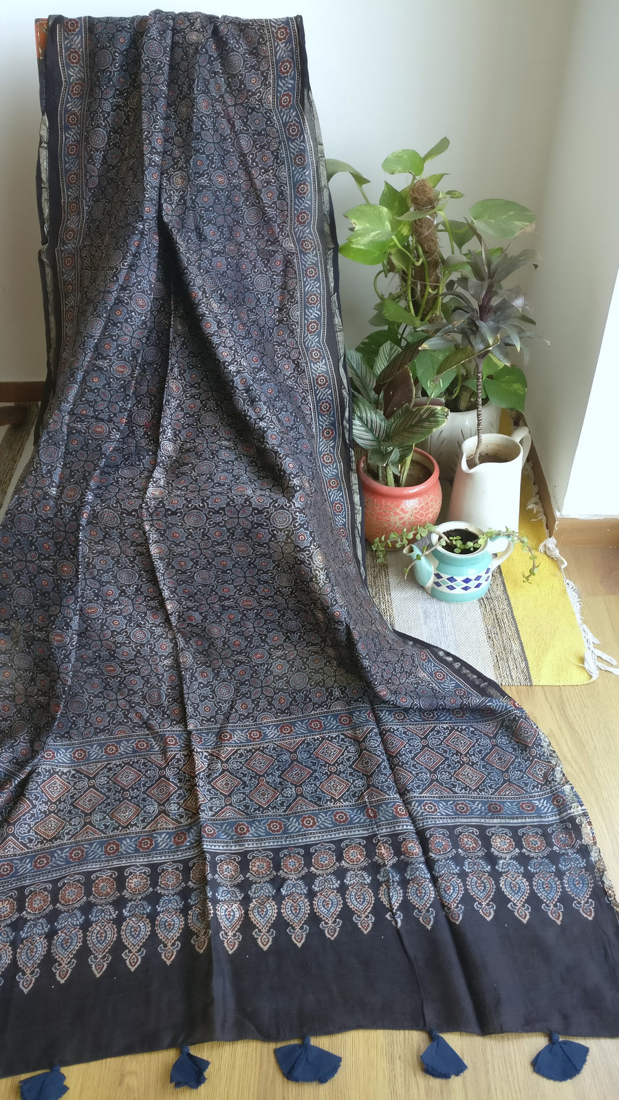 SILK COTTON AJRAKH - INDIGO & MADDER