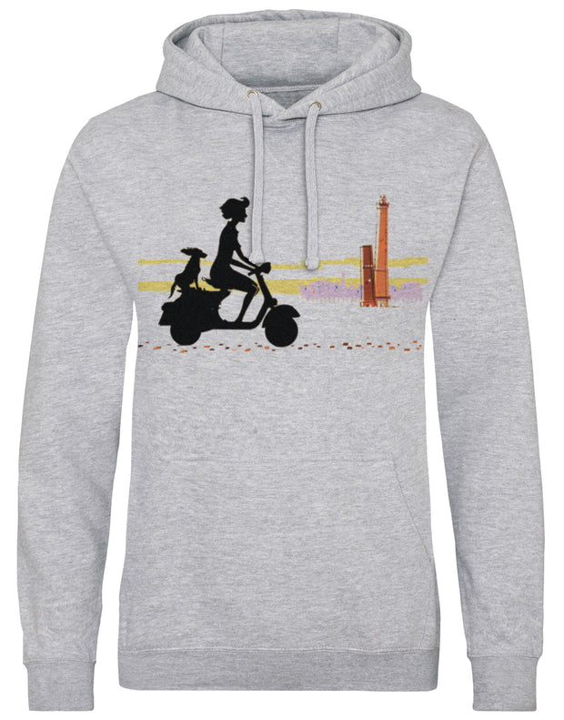 Scooter Girl and Dog Print Hoodie