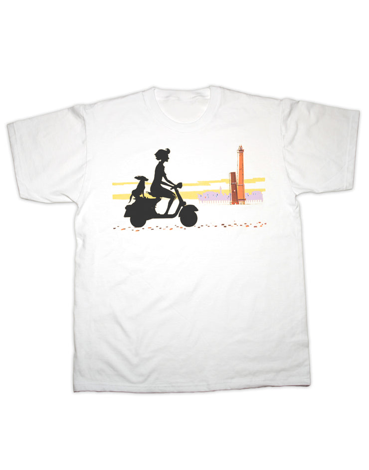 Scooter Girl & Dog T Shirt