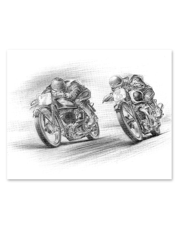 Norton v Triumph Race Print Wall Art