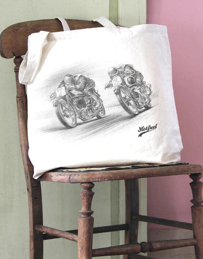 Norton v Triumph Race Print Cotton Tote Bag