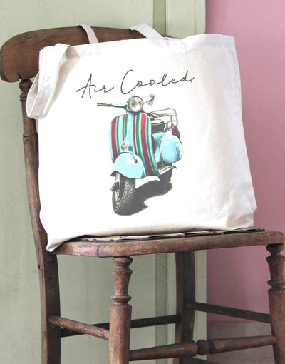 Air Cooled Scooter Stripes Cotton Tote Bag