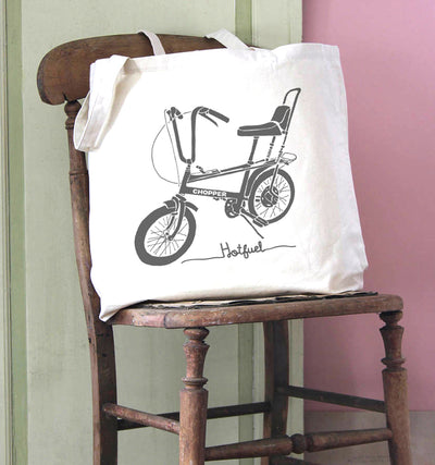 Hotfuel Chopper Cycle Print Cotton Tote Bag