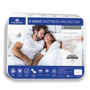 Kingsdown 6-sided mattress protector.  Total mattress encasement. Maintains a clean and hygienic sleeping surface.  10 year warranty. Bed bug barrier. Dust mite barrier. Breathable. Waterproof. Allergen Control. Prevents Mattress Stains.