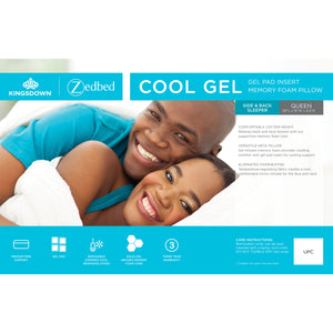 Cool Gel Gel Pad Insert Memory Foam Pillow for Side and Back Sleepers. Queen Size. Medium Firm Support. Removable zippered cool response cover. 3 year warranty.