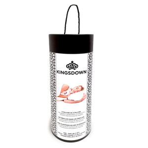 Canister packaging for Kingsdown luxury pillow in a pillow