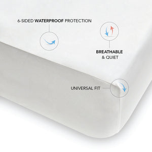 "6-sided waterproof protection. Breathable and quiet. Fits mattresses 8"" to 20"" thick."