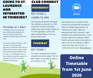 Our New Timetable from 1st June 2020