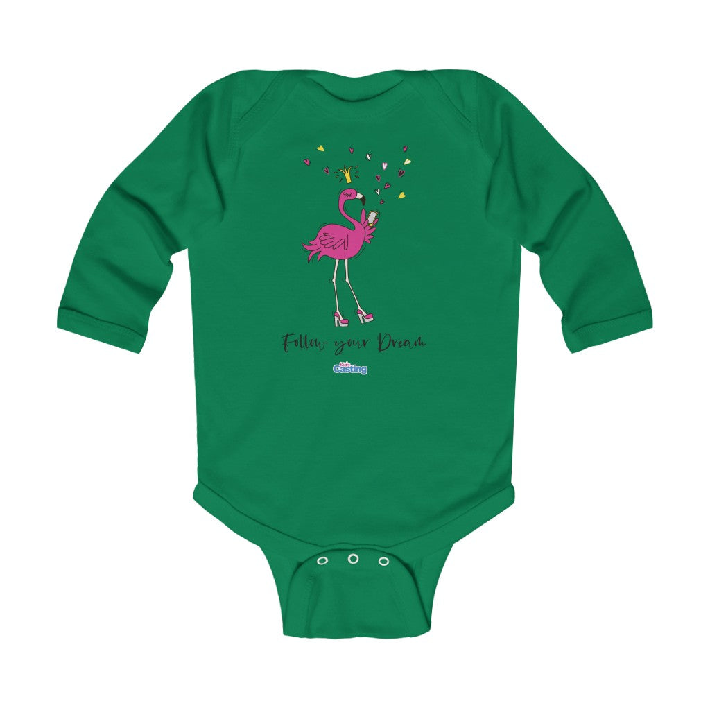 Follow Dreams Flamingo Princess Baby Bodysuit
