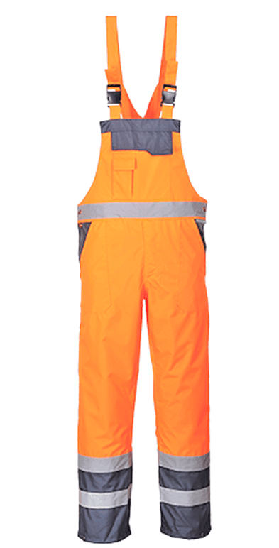 Hi-Vis Orange/Navy Waterproof Bib & Brace