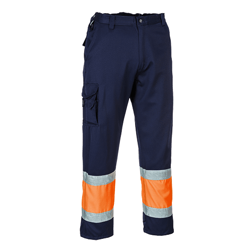 Hi-Viz Orange & Navy Polycotton Lille Combat Trousers