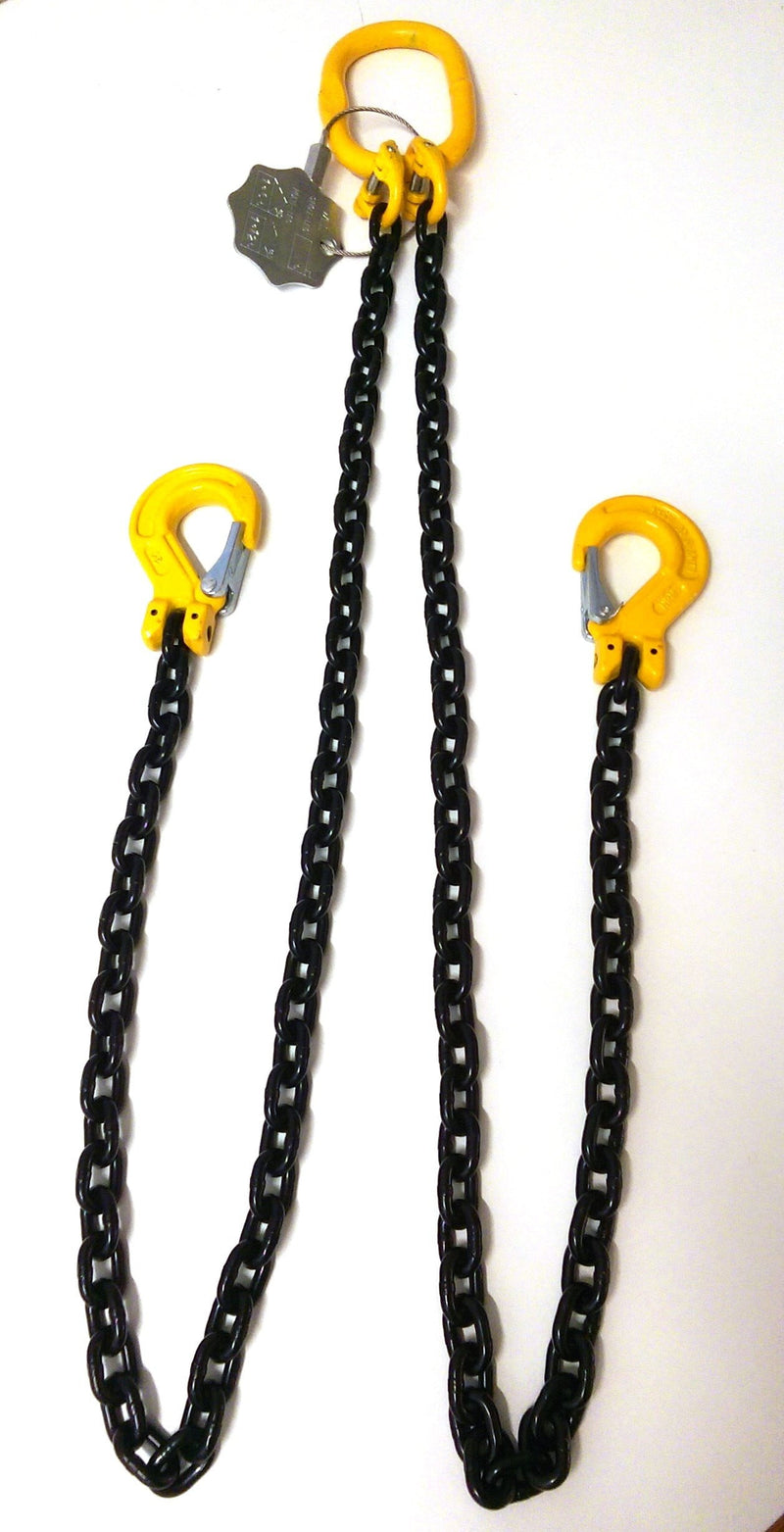 G80 Lifting Chain Sling 6mm 2 Leg x 1m with Safety Hooks
