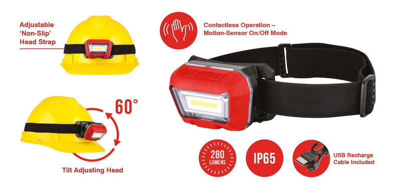 Head Torch - Adjustable - Rechargeable USB