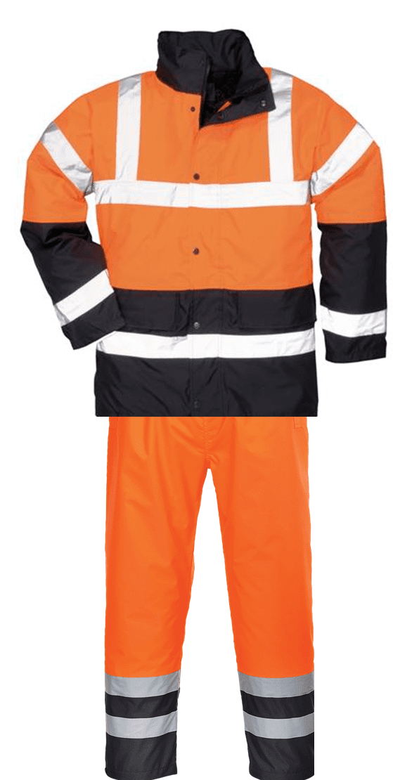 Hi-Vis Waterproof Jacket & Trouser Set - Two Tone