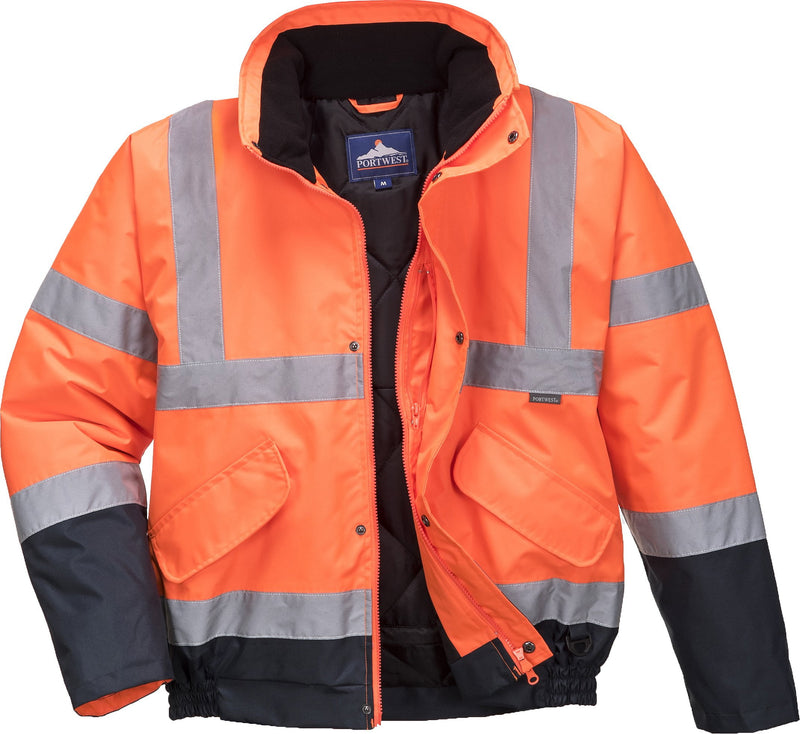 Hi-Vis Bomber Jacket Orange & Navy