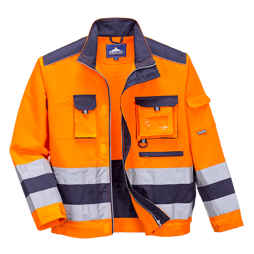 Hi-Viz Orange & Navy Polycotton Lille Jacket - TX50