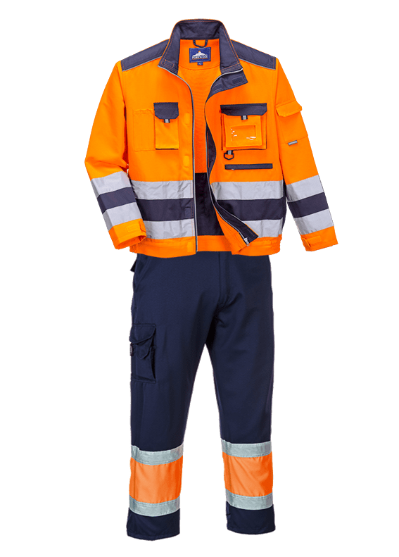 Hi-Vis Jacket & Combat Trousers SET in Polycotton Lille (Orange & Navy)SET