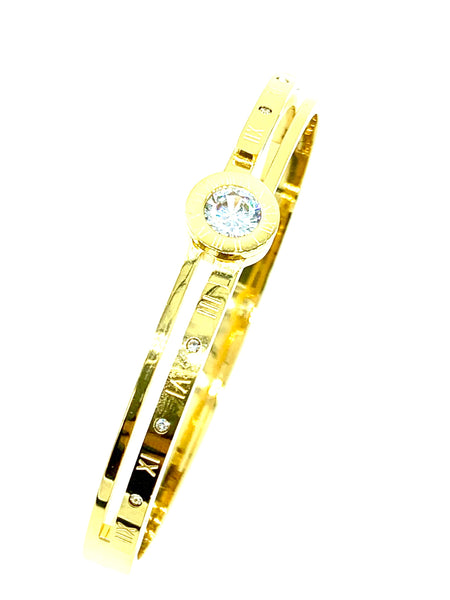 Gold Bangle High Polish Stainless Steel Women FREE & FAST SHIPPING (US Only)
