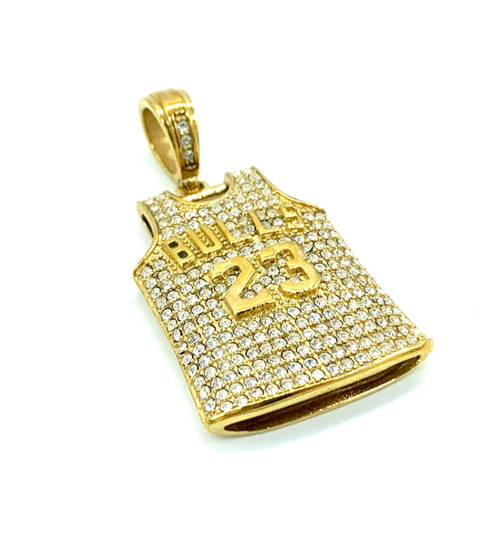 1.5 Inch Long Gold Pendant High Polish Stainless Steel CZ Diamond Men/Women FREE & FAST SHIPPING (US Only)
