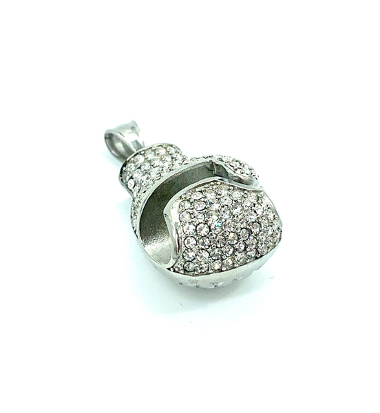 Boxing Glove 1.2 Inch Long Silver Pendant High Polish Stainless Steel CZ Diamond Men/Women's FREE & FAST SHIPPING (US Only)