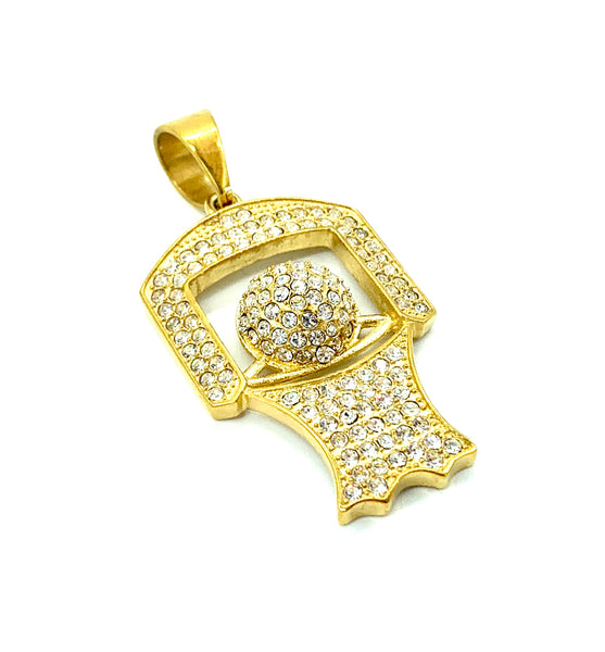 1.7 Inch Long Gold Basketball Pendant High Polish Stainless Steel CZ Diamond Men/Women FREE & FAST SHIPPING (US Only)