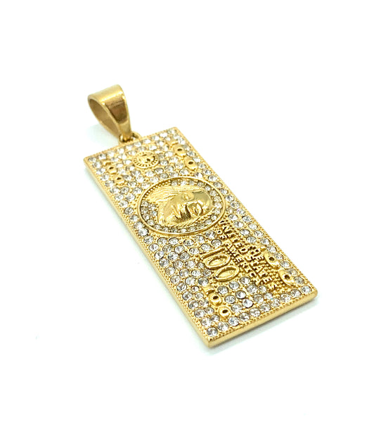 2 Inch Long Money Pendant Gold Pendant High Polish Stainless Steel CZ Diamond Men/Women FREE & FAST SHIPPING (US Only)