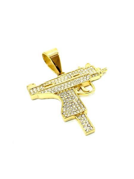 1.8 Inch Long Gold Uzi Gun Pendant High Polish Stainless Steel CZ Diamond Men/Women FREE & FAST SHIPPING (US Only)