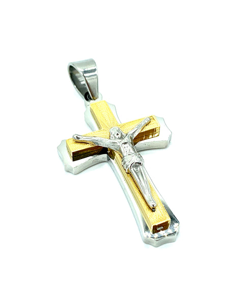 2 Inch Long Tow Tone Cross Pendant High Polish Stainless Steel Men/Women FREE & FAST SHIPPING (US Only)