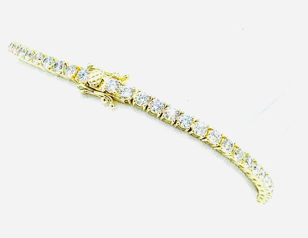 Gold Tennis Bracelet (3mm Stone)