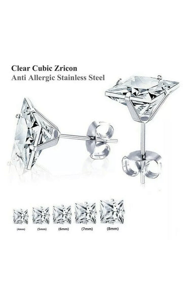 Square Surgical 316L Stainless Steel Stud Earrings Cubic Zircon Square Men Women 2PC  FREE & FAST SHIPPING (US Only)