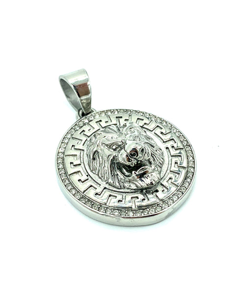 1.5 Inch Long Silver Pendant High Polish Stainless Steel CZ Diamond Men/Women FREE & FAST SHIPPING (US Only)
