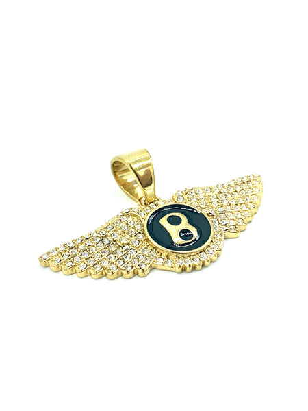 0.8 Inch Long Bentley Pendant Gold Pendant High Polish Stainless Steel CZ Diamond Men/Women FREE & FAST SHIPPING (US Only)