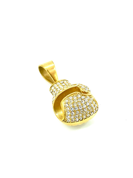 Boxing Glove 1.2 Inch Long Gold Pendant High Polish Stainless Steel CZ Diamond Men/Women's FREE & FAST SHIPPING (US Only)