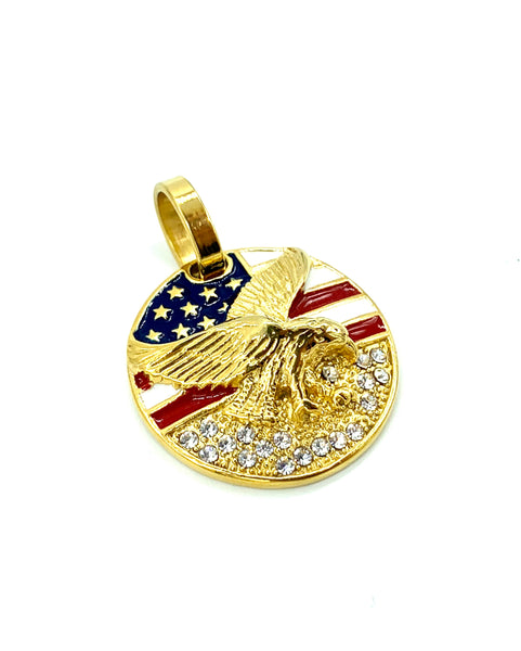 1.2 Inch Long Gold USA Pendant High Polish Stainless Steel CZ Diamond Men/Women FREE & FAST SHIPPING (US Only)