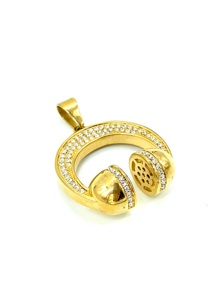 1.7 Inch Long Gold Headphones Pendant High Polish Stainless Steel CZ Diamond Men/Women FREE & FAST SHIPPING (US Only)