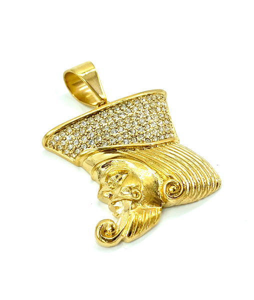 1.6 Inch Long Gold Pendant High Polish Stainless Steel CZ Diamond Men/Women FREE & FAST SHIPPING (US Only)
