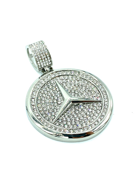 2 Inch Long Mercedes Benz Snake Pendant High Polish Stainless Steel CZ Diamond Men/Women FREE & FAST SHIPPING (US Only)