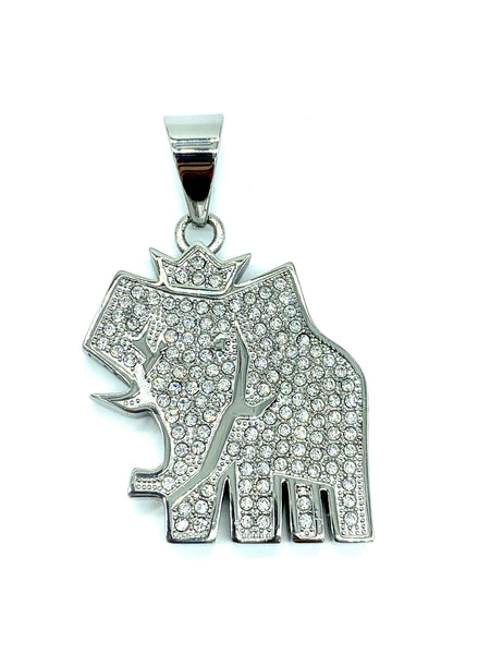 2 Inch Long Elephant Pendant High Polish Stainless Steel CZ Diamond Men/Women FREE & FAST SHIPPING (US Only)