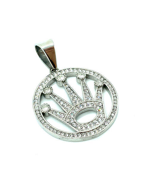 1.7 Inch Long Rolex Pendant High Polish Stainless Steel CZ Diamond Men/Women FREE & FAST SHIPPING (US Only)