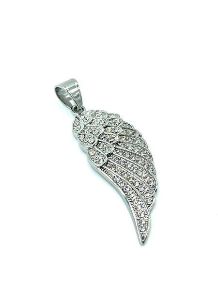 2.2 Inch Long Angels Wing Pendant High Polish Stainless Steel CZ Diamond Men/Women FREE & FAST SHIPPING (US Only)