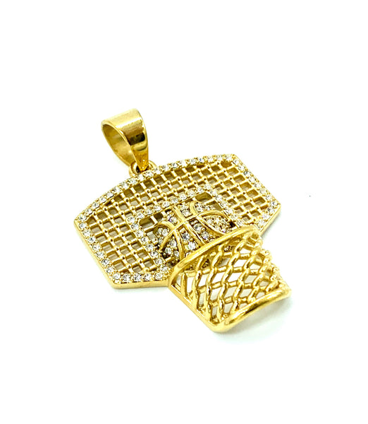 1.6 Inch Long Gold Basketball Pendant High Polish Stainless Steel CZ Diamond Men/Women FREE & FAST SHIPPING (US Only)