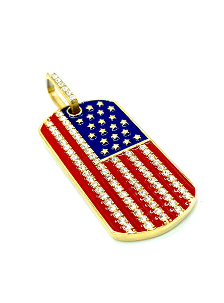 1.9 Inch Long Gold USA Pendant High Polish Stainless Steel CZ Diamond Men/Women FREE & FAST SHIPPING (US Only)