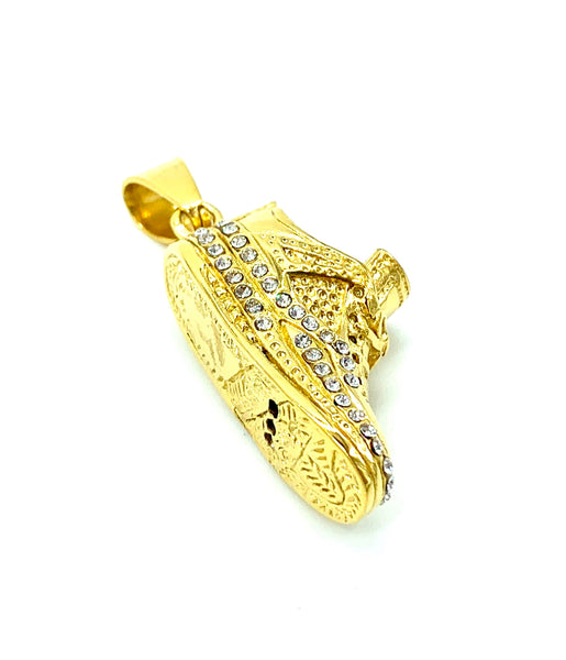 1.5 Inch Long Gold Shoe Pendant High Polish Stainless Steel CZ Diamond Men/Women FREE & FAST SHIPPING (US Only)