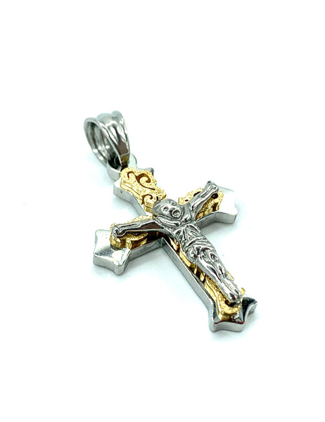 1.1 Inch Long Tow Tone Cross Pendant High Polish Stainless Steel Men/Women FREE & FAST SHIPPING (US Only)
