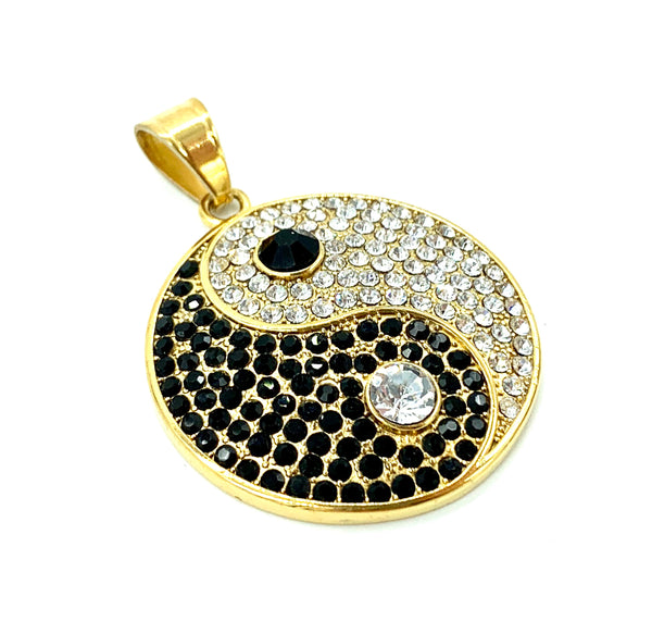 1.6 Inch Long Gold Yin Young Pendant High Polish Stainless Steel CZ Diamond Men/Women FREE & FAST SHIPPING (US Only)