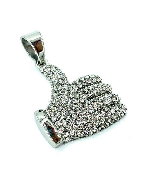 1.6 Inch Long Silver Pendant High Polish Stainless Steel CZ Diamond Men/Women FREE & FAST SHIPPING (US Only)