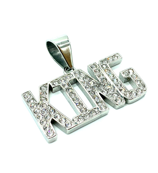 0.9 Inch Long Gold/Silver Pendant High Polish Stainless Steel CZ Diamond Men/Women FREE & FAST SHIPPING (US Only)